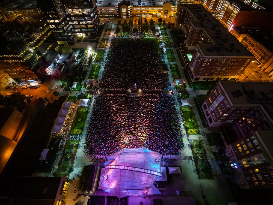 Columbus Commons concert at night, aerial view located in Downtown Columbus.