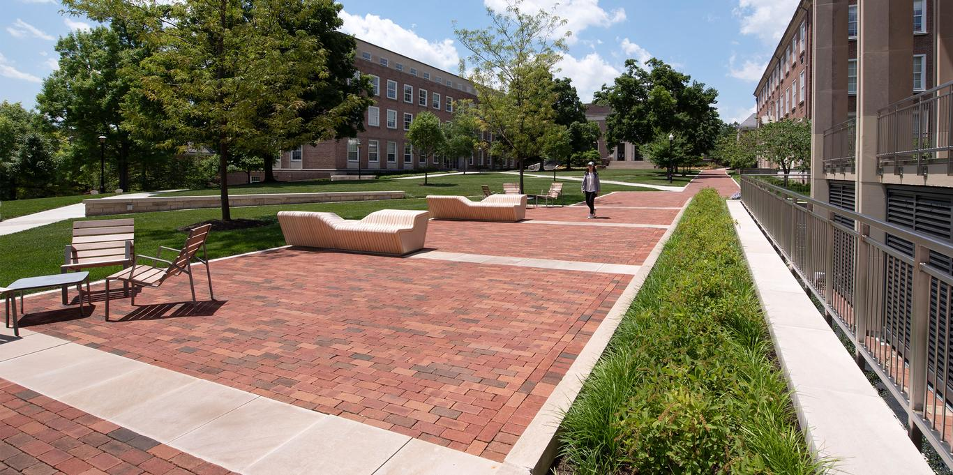 Denison's redesigned Academic Quad, benches and walkways offers a flexible community gathering space.