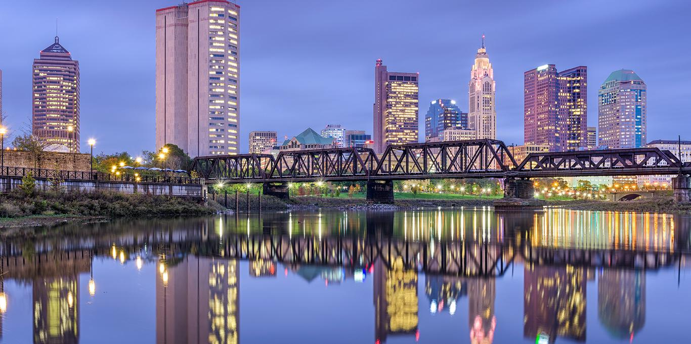 skyline view from the river of Columbus Ohio
