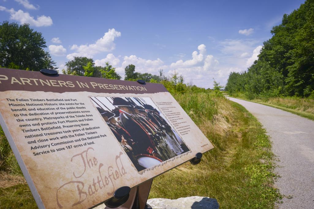 Partners in Preservation interpretive sign at Fallen Timbers Battlefield and Visitors Center.