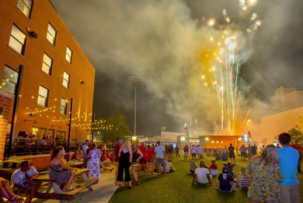 Firework display and outdoor public space at Hensville Park in Toledo, OH.