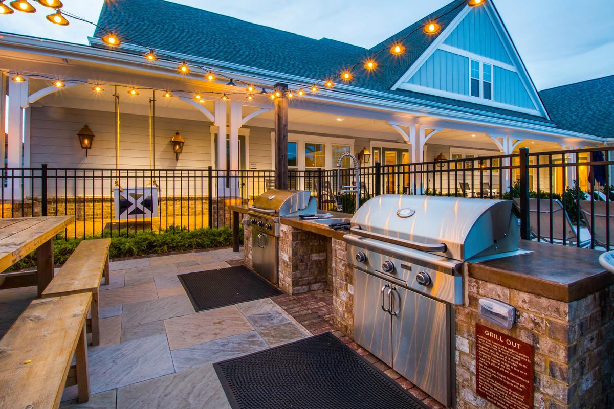 outdoor patio with new grill