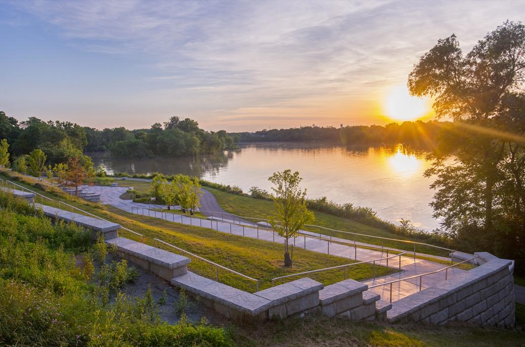 View of Perrysburg's accessible, multi-level riverfront park design.