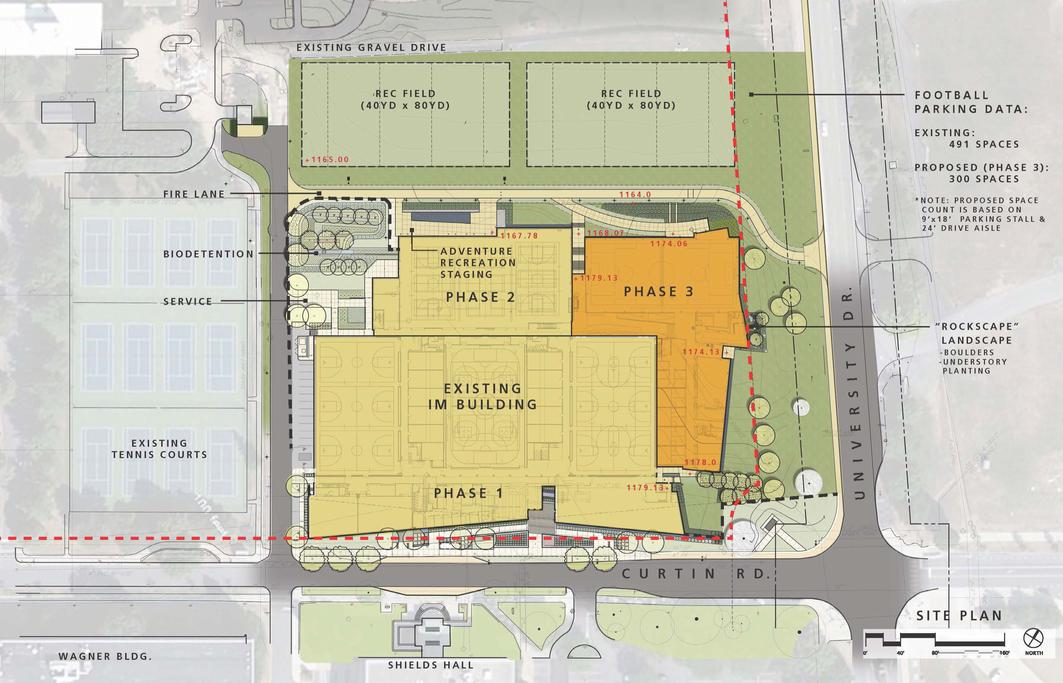 rendering of the Penn State University Intramural Building master plan.