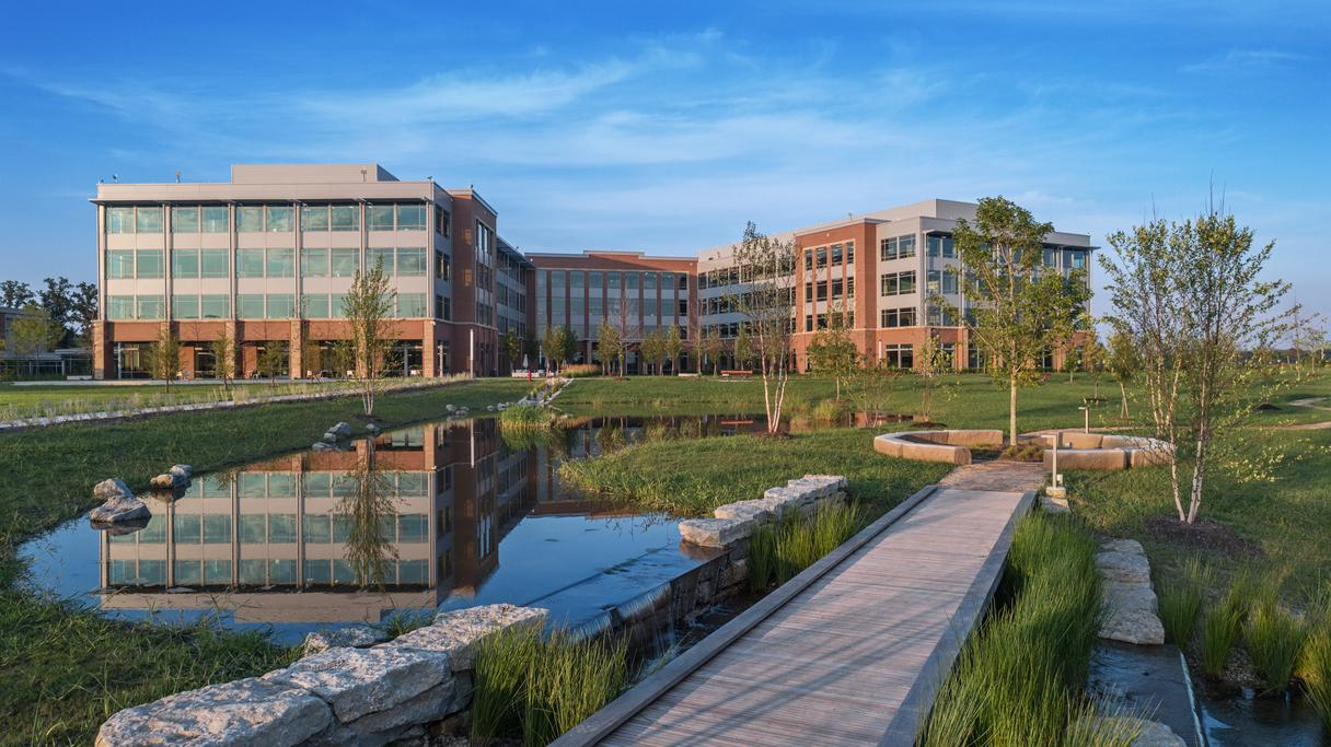 pond exterior view of corporate hq