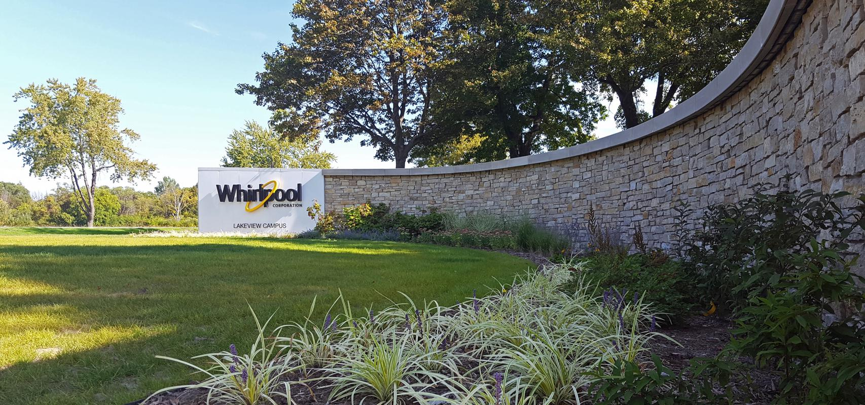 whirlpool welcoming signage and landscape architecture